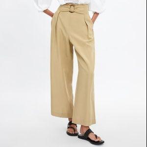 NWT Zara Tan High Waist Pants Buckle XL 8372/027
